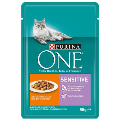 Purina One Sensitive - 12 x 85 g kana & porkkana