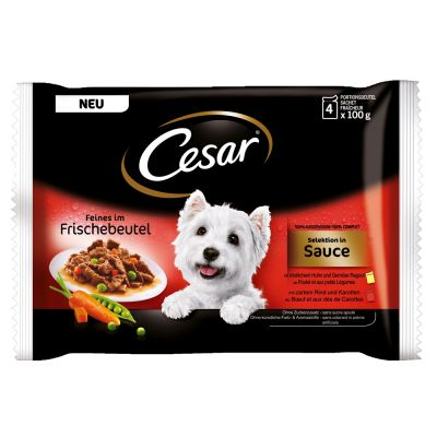 Cesar Pouch Selection in Sauce, monta makua - 48 x 100 g