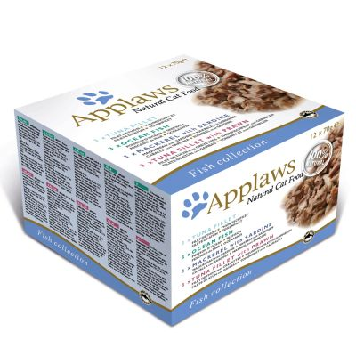 Applaws Adult -purkkilajitelmat 12 x 70 g - Fish Selection