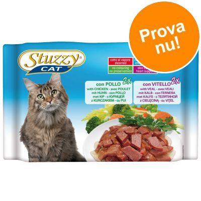 Blandpack: Stuzzy Cat i portionspåse 4 x 100 g - Mix 2 sorter Sterilized: Kyckling + Kalkon