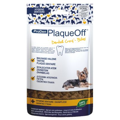 ProDen PlaqueOff Dental Croq snacks dentales para perros pequeños y gatos - 2 x 60 g - Pack Ahorro