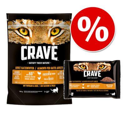 750 g Crave Adult kissanruoka + 4 x 85 g Crave Pouch erikoishintaan! - Turkey & Chicken (750 g) + lohi- & kanapatee (4 x 85 g)