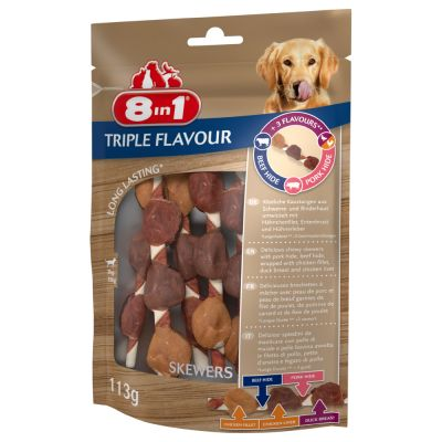 8in1 Triple Flavour Skewers - 3 x 113 g (18 kpl)