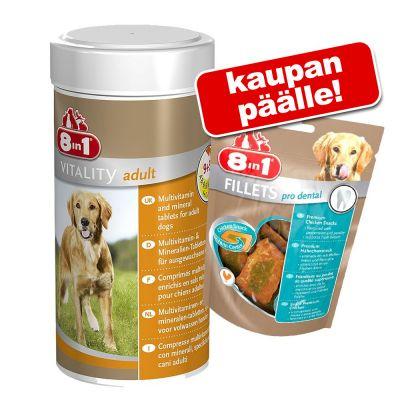 8in1 Vitality + 80 g 8in1 Fillets Pro Dental -herkkuja kaupan päälle! - Senior (70 tablettia)