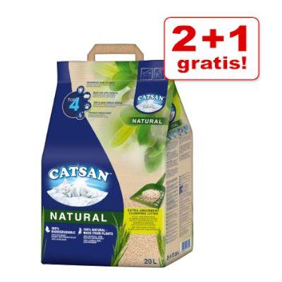 2 + 1 på köpet! Catsan klumpbildande kattströ - Natural (3 x 20 l)