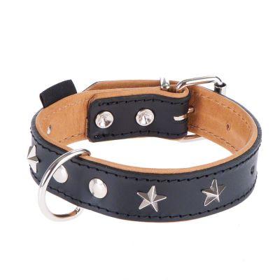 heim Lederhalsband Stars, schwarz/beige
