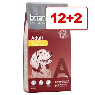 Briantos koiranruoka 14 kg: 12 + 2 kg kaupan päälle! - Adult Chicken & Rice
