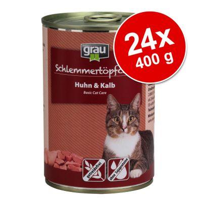 Grau Gourmet, viljaton -säästöpakkaus 24 x 400 g - lajitelma: 2 makua