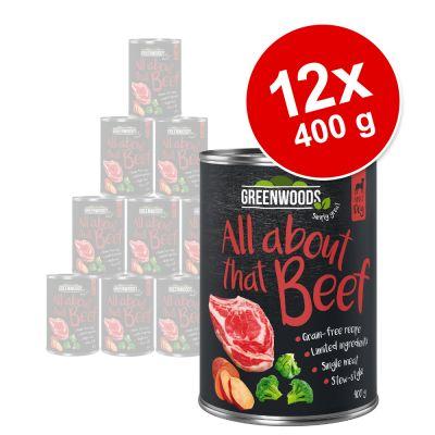 Greenwoods Adult -säästöpakkaus 12 x 400 g - nauta, bataatti & parsakaali