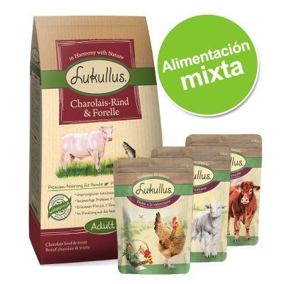 Pack alimentación mixta: pienso 1,5 kg + 6 x 300 g bolsitas mixtas Lukullus - Pienso pato y cordero (1,5kg) + sobres mixtos (6x300g)