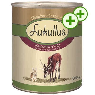 2x zooPlusPisteitä: Lukullus koiranruoka 24 x 800 g - hanhi ja kalkkunansydän
