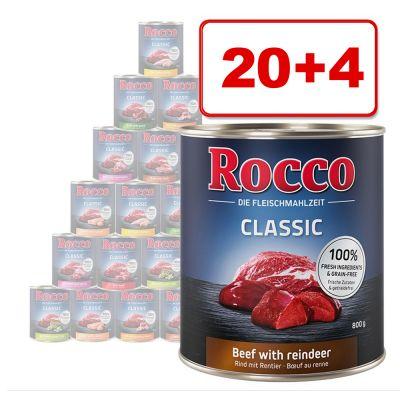 Rocco Classic 24 x 800 g: 20 + 4 kaupan päälle! - nauta ja kana