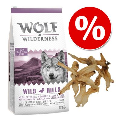 Wolf of Wilderness -tuotepaketti: koiranruoka 12 kg + kaninkorvat 200 g – Green Fields