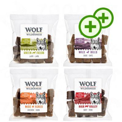2x zooPlusPisteitä: Wolf of Wilderness Snack – suden herkkupalat 720 g – 4 makua: kana, ankka, lammas, nauta