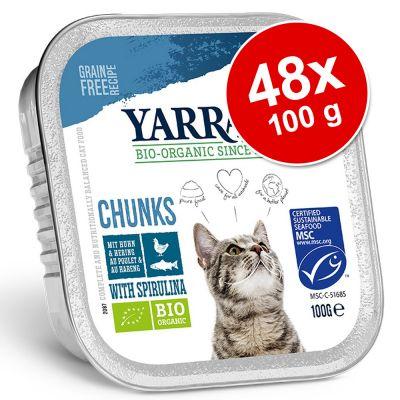 48 x 100 g Yarrah -säästöpakkaus - Pâté: lohi & merilevä