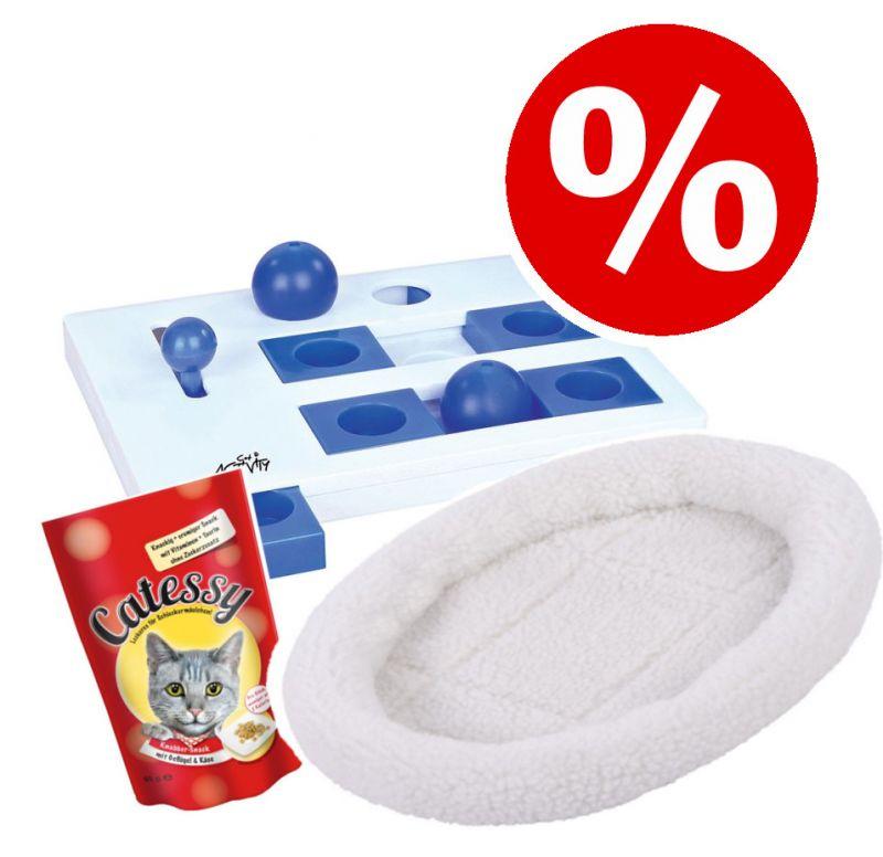 Sparset: Fluffy 2in1 säng + Trixie Cat Activity + Catessy snacks 65 g - L 48 x B 40 x H 8 cm brun