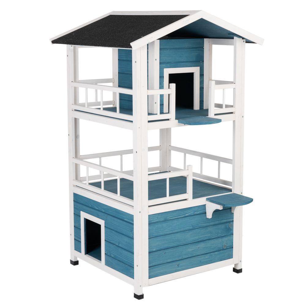 Penthouse katthus - L 72 x B 72 x H 124 cm - blått / vitt