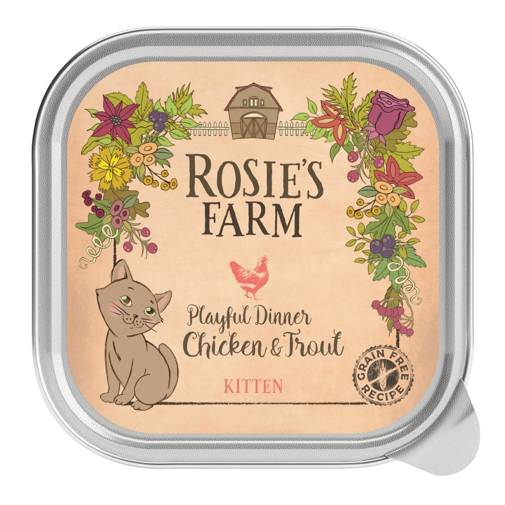Click to view product details and reviews for Rosies Farm Kitten Playful Dinner With Chicken Trout 16 X 100g.