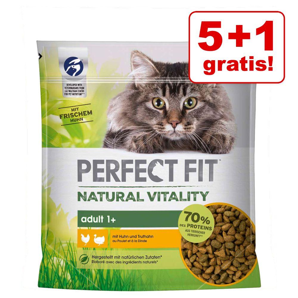 5 + 1 på köpet! 6 x 650 g Perfect Fit Natural Vitality Kyckling & kalkon - 6 x 650 g