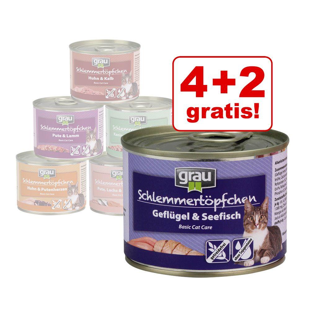 4 + 2 gratis! 6 x 200 g Grau Schlemmertöpfchen getreidefrei - Mix III (6 Sorten)