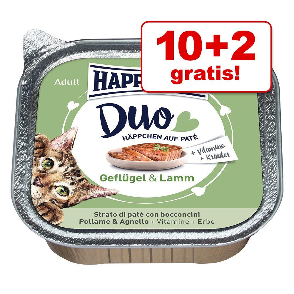 10 + 2 på köpet! Happy Cat Duo - Bitar med paté 12 x 100 g - Fjäderfä & nötkött