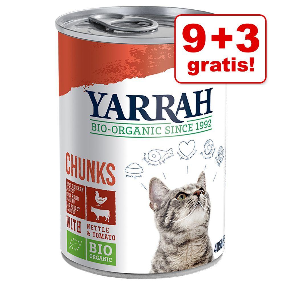 9 + 3 på köpet! 12 x 400 g / 405 g Yarrah Organic - Chunks Kyckling & nötkött med brännässlor & tomater (12 x 405 g)