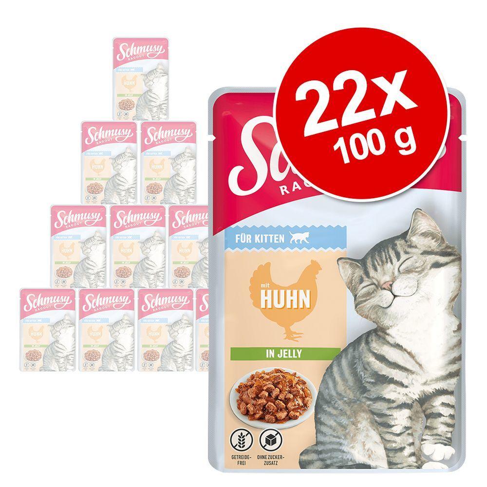 22 x 100 g Schmusy Ragout Kitten in Jelly Kyckling - Kyckling