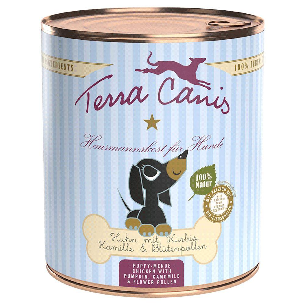 6x800g Terra Canis Menu poulet, potiron, camomille , pollen de fleurs - Pâtée pour chien