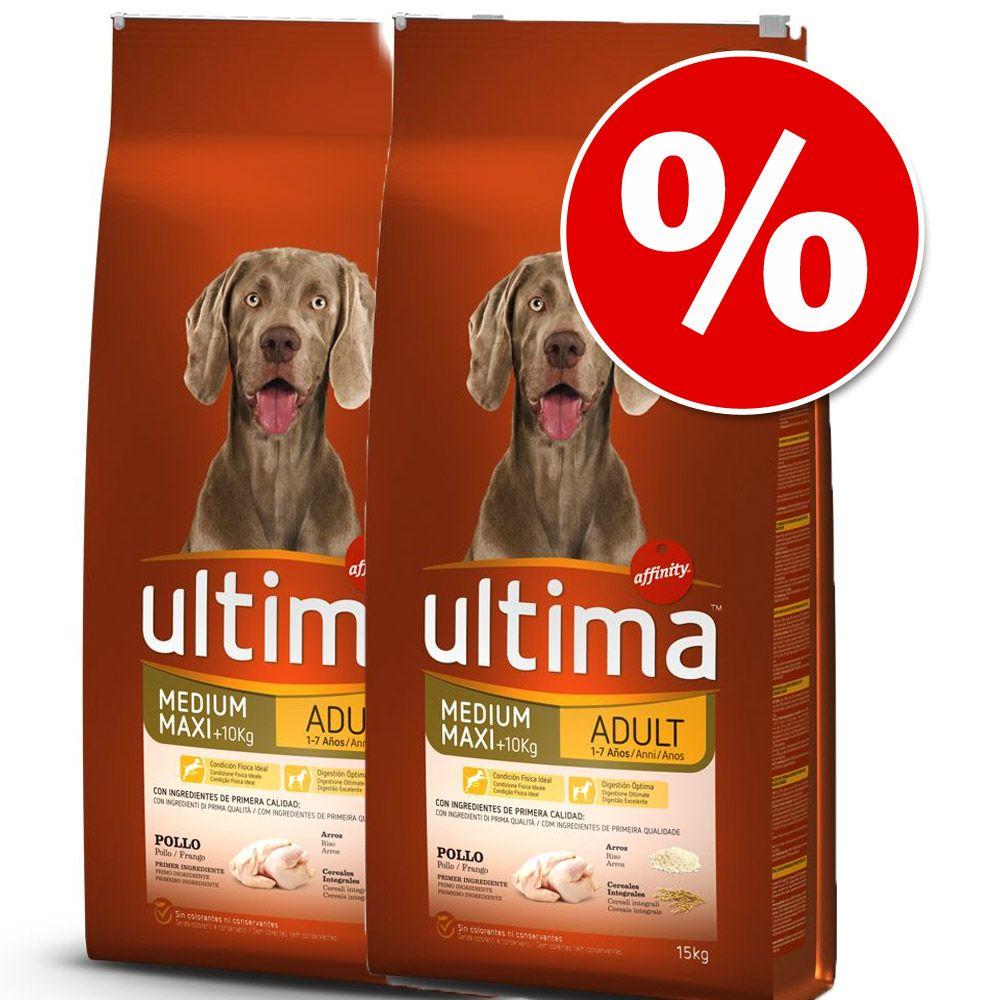 Foto Set Risparmio! 2 x Ultima - Medium / Maxi Senior Pollo (2 x 7,5 kg) Affinity Ultima