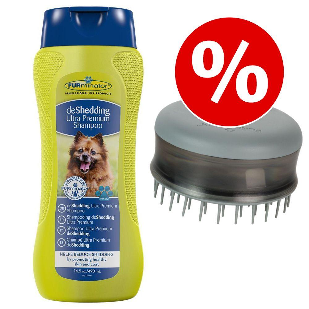 Image of Set FURminator: deshedding Shampoo + Bathing Brush - 490 ml Shampoo + Spazzola