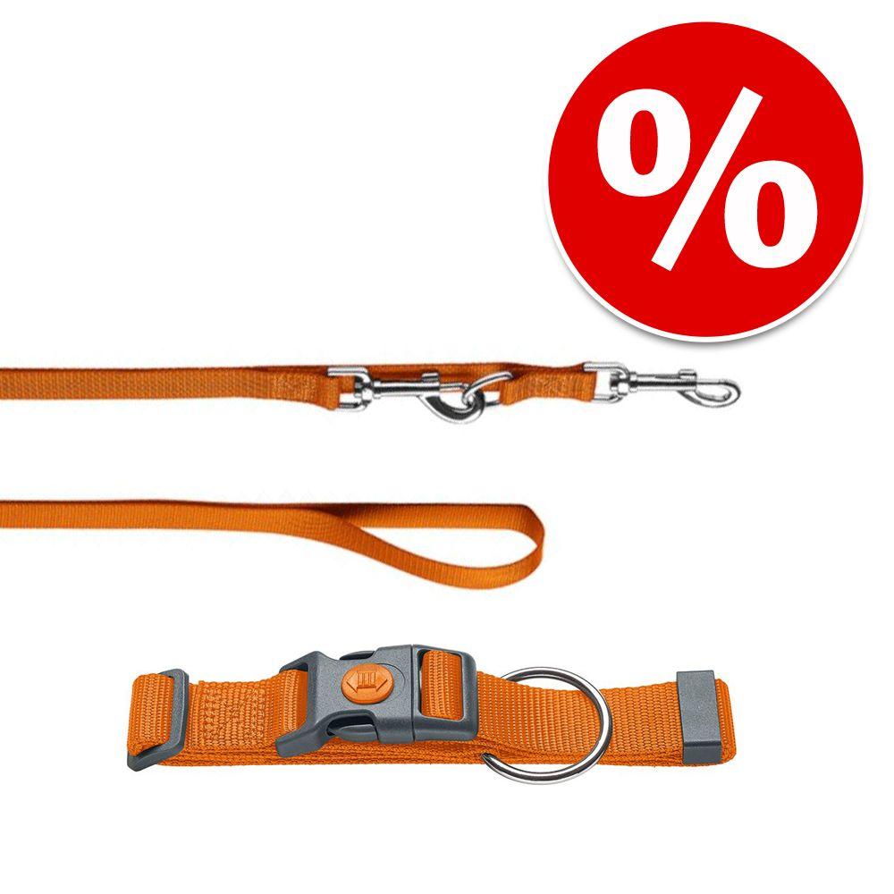 HUNTER Set: Halsband London + Führleine London, orange - Vario Plus Größe L-XL + Leine 200 cm / 15 mm