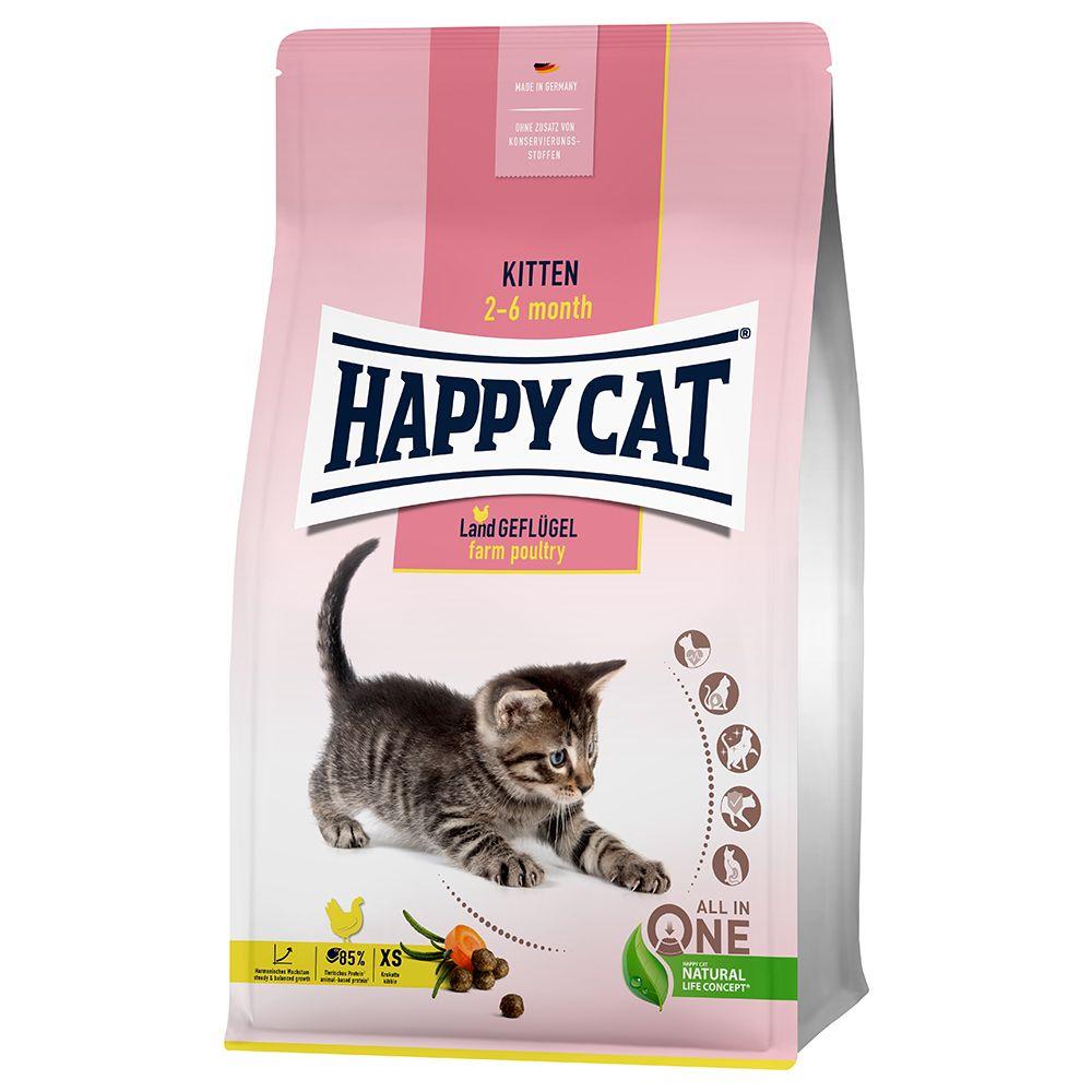 Happy Cat Young Kitten Land-Geflügel - Sparpaket: 2 x 4 kg