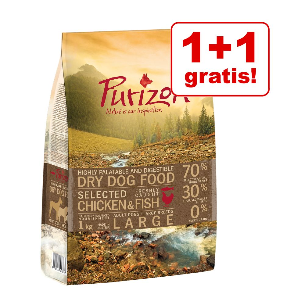 1 + 1 på köpet! 2 x 1 kg Purizon torrfoder för hund - Large Adult Chicken & Fish
