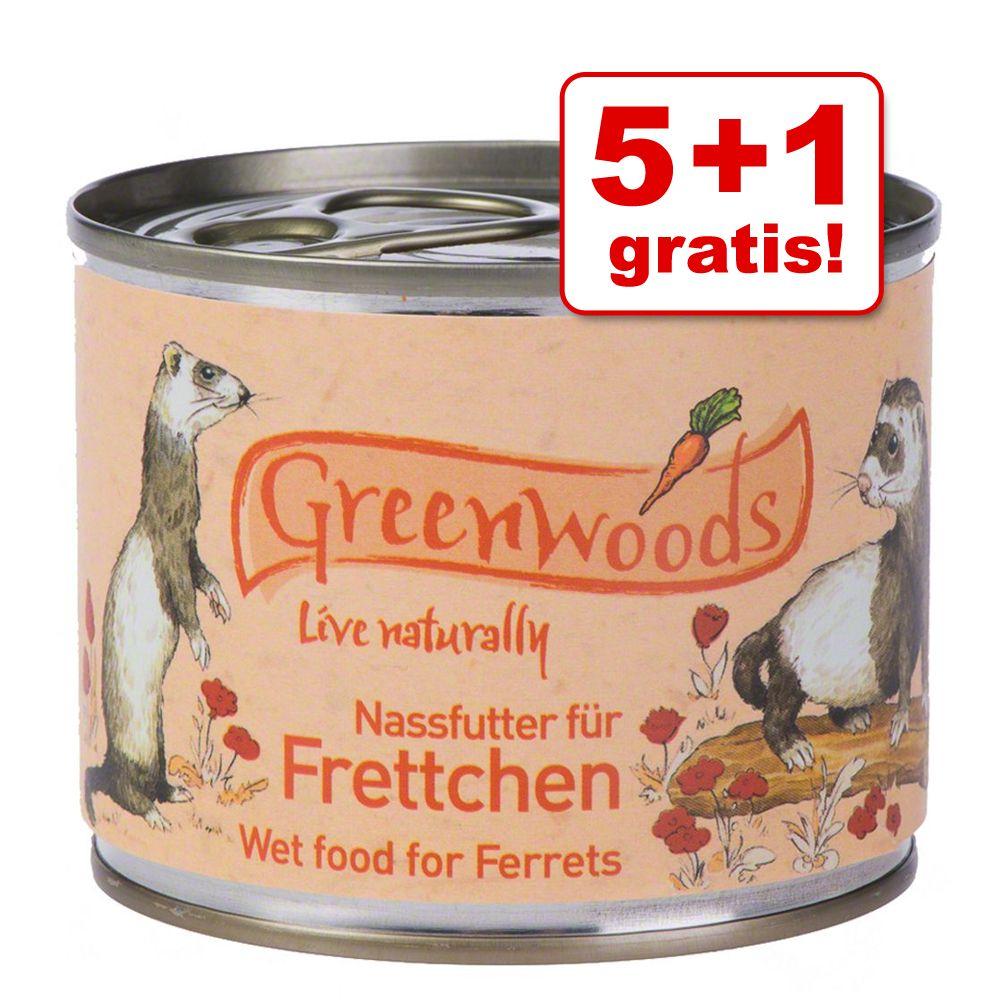 5 + 1 gratis! Greenwoods, mokra karma dla fretek, 6 x 200 g lub 400 g - 6 x 200 g
