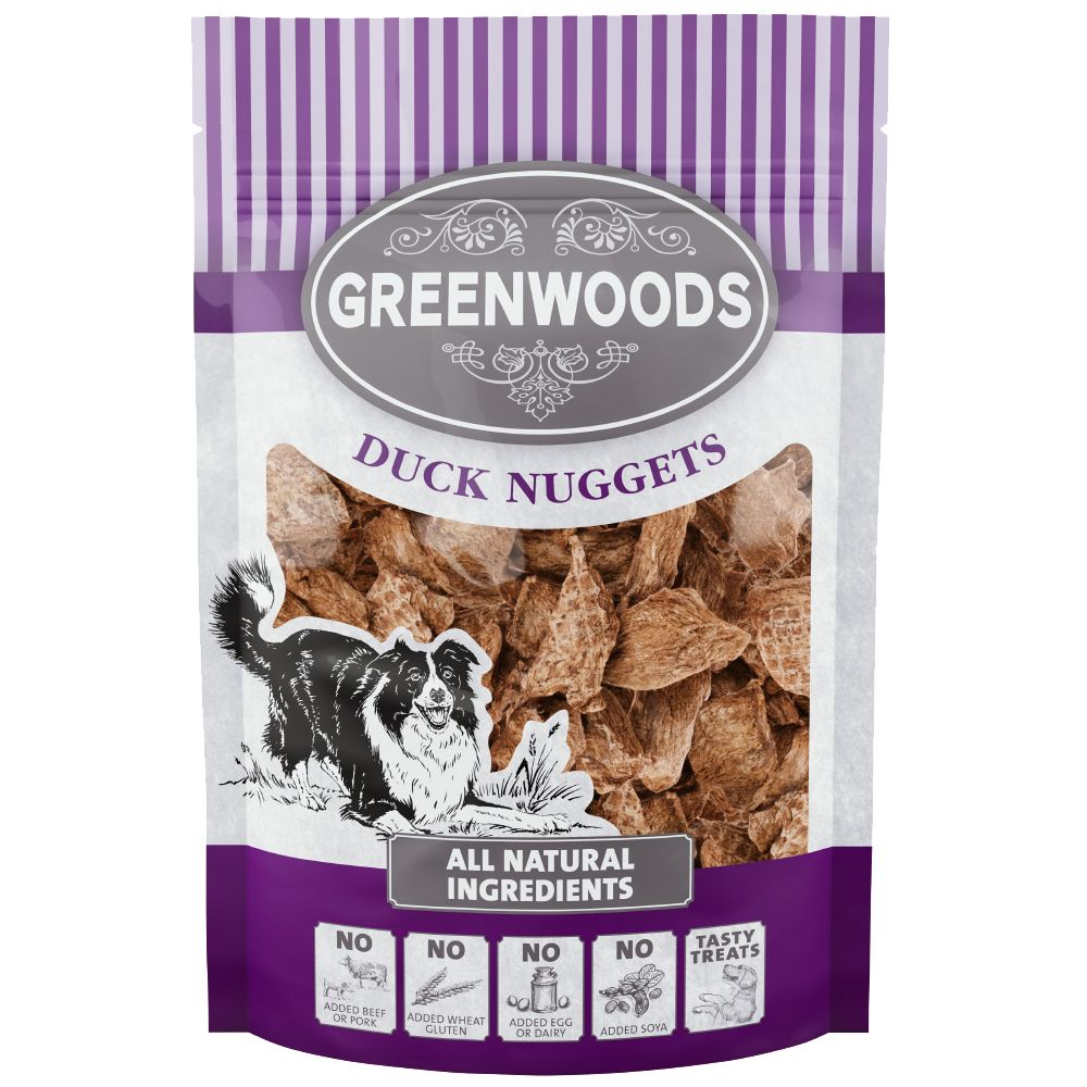 Greenwoods Nuggets Dog Treats Saver Pack 5 x 100g - Duck