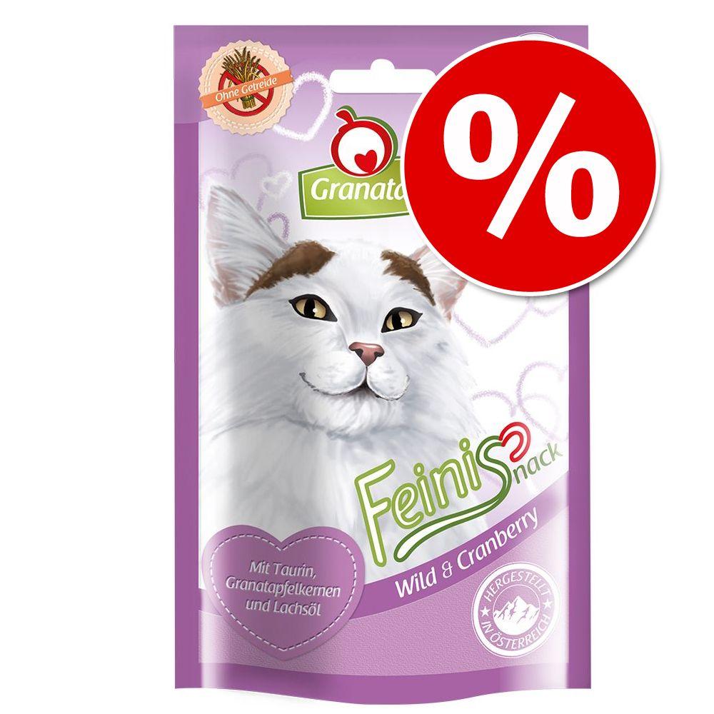 Ekonomipack: 3 x 50 g GranataPet Feini kattgodis - Fjäderfä & kattgräs (3 x 50 g)