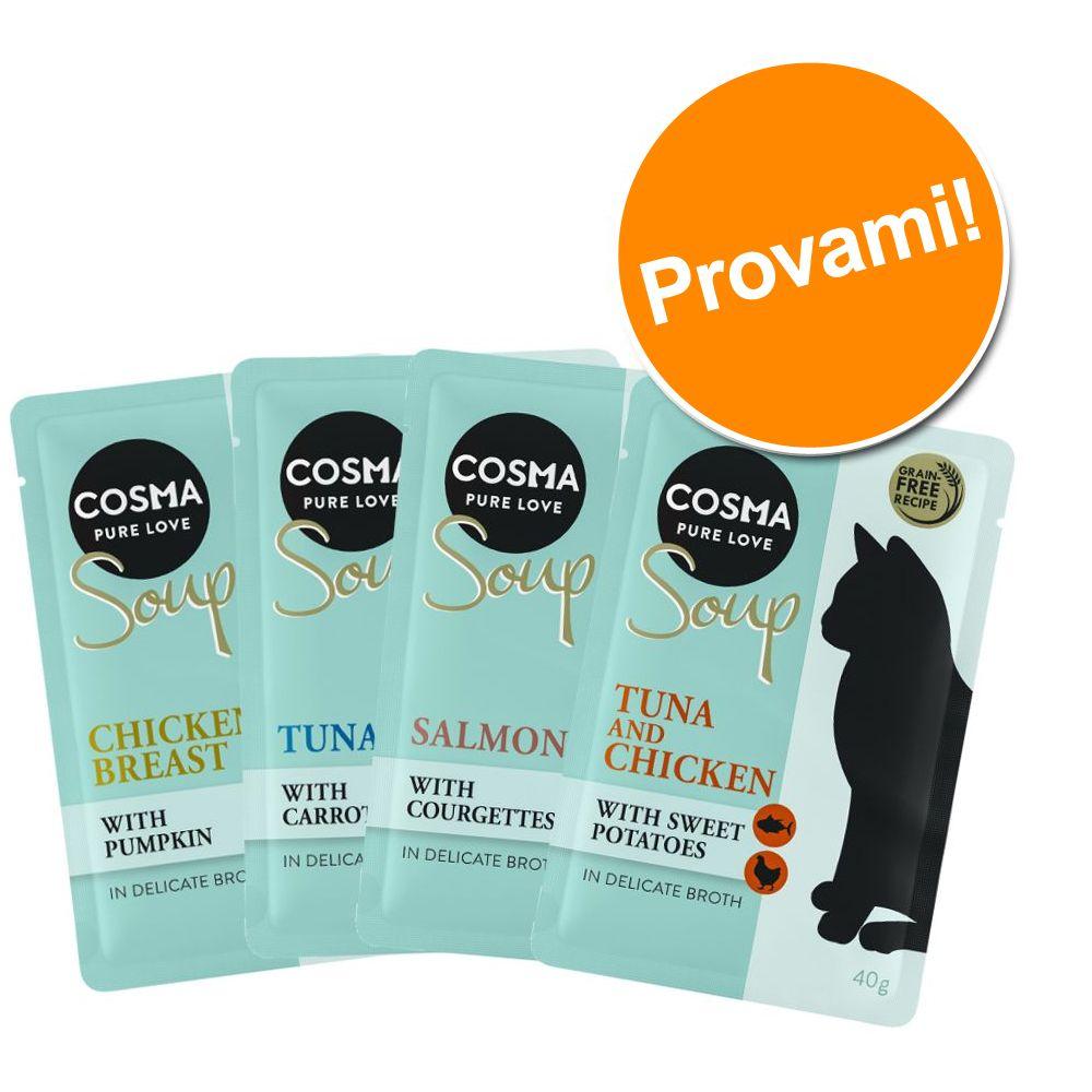Image of Set prova misto! Cosma Soup 4 x 40 g - Pollo + Salmone + Tonno + Petto di Pollo & Tonno