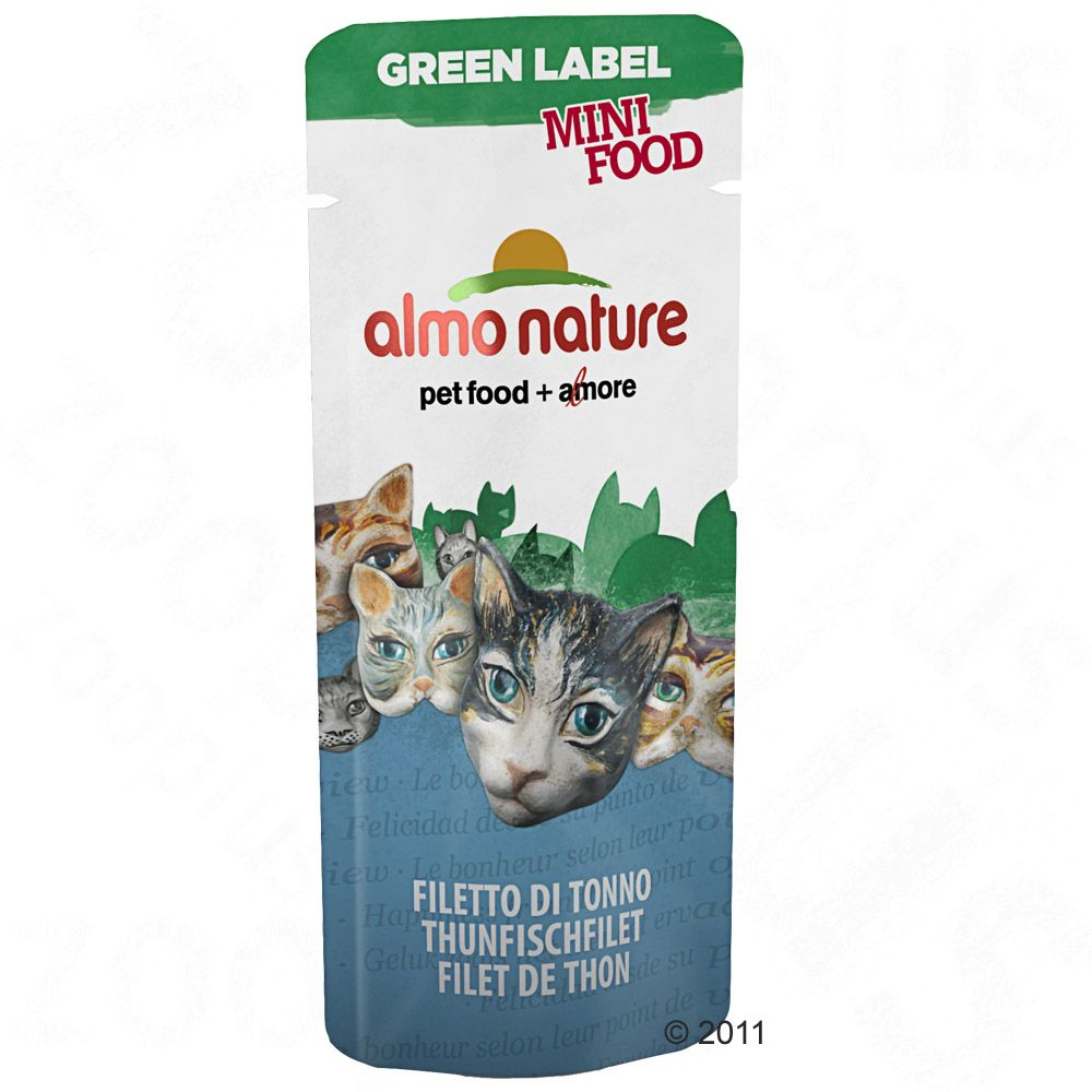 Almo Nature Green Label Mini Food - Ekonomipack: Tonfiskfilé, 25 x 3 g