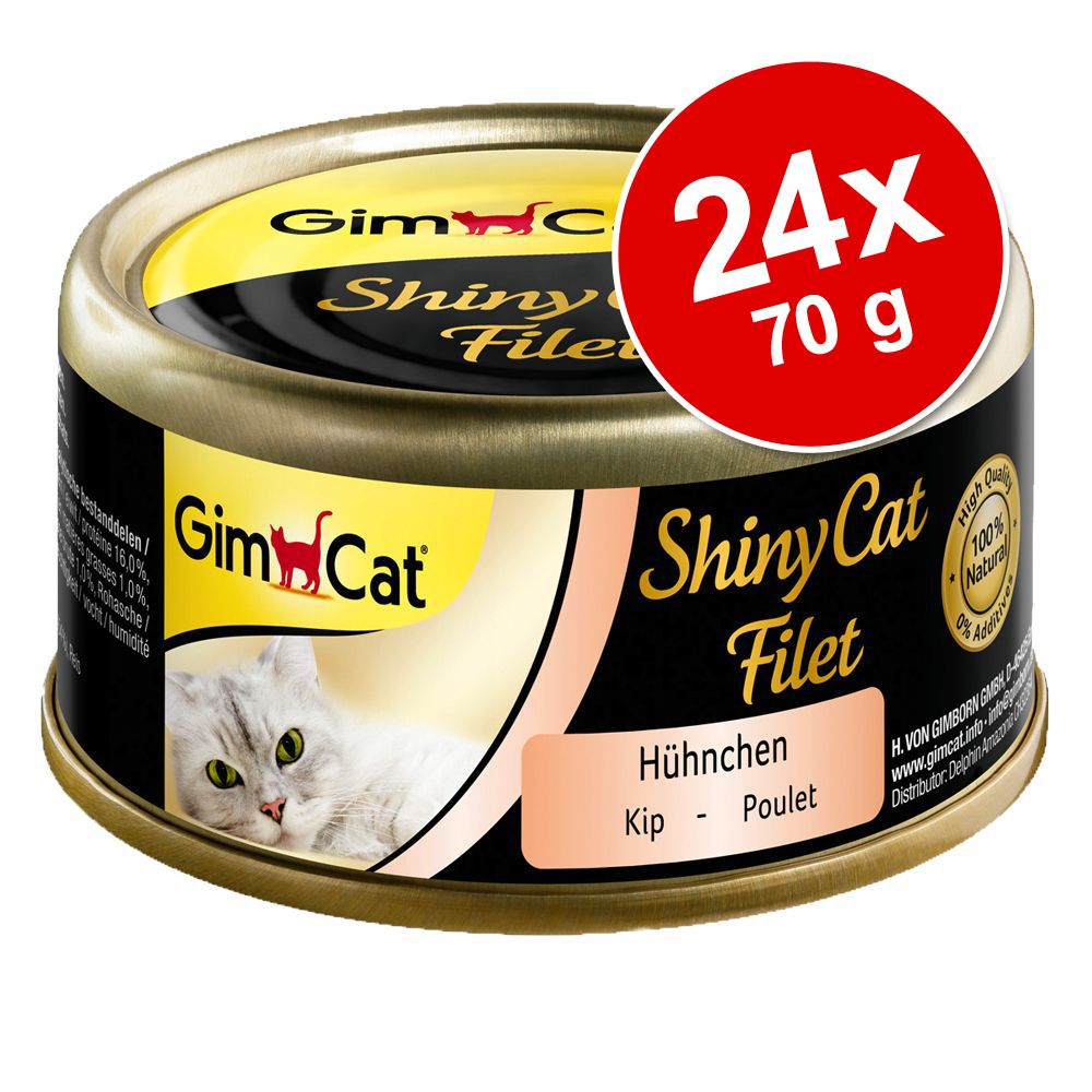 Ekonomipack: GimCat ShinyCat Filet 24 x 70 g - Kyckling