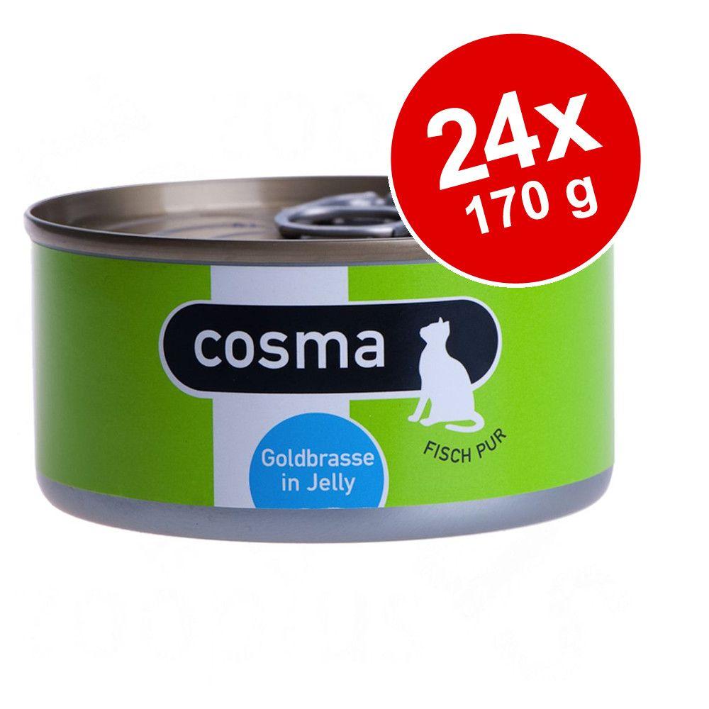Ekonomipack: Cosma Original i gelé 24 x 170 g Blandpack: Tonfisk, makrill, sardiner, lax, kyckling