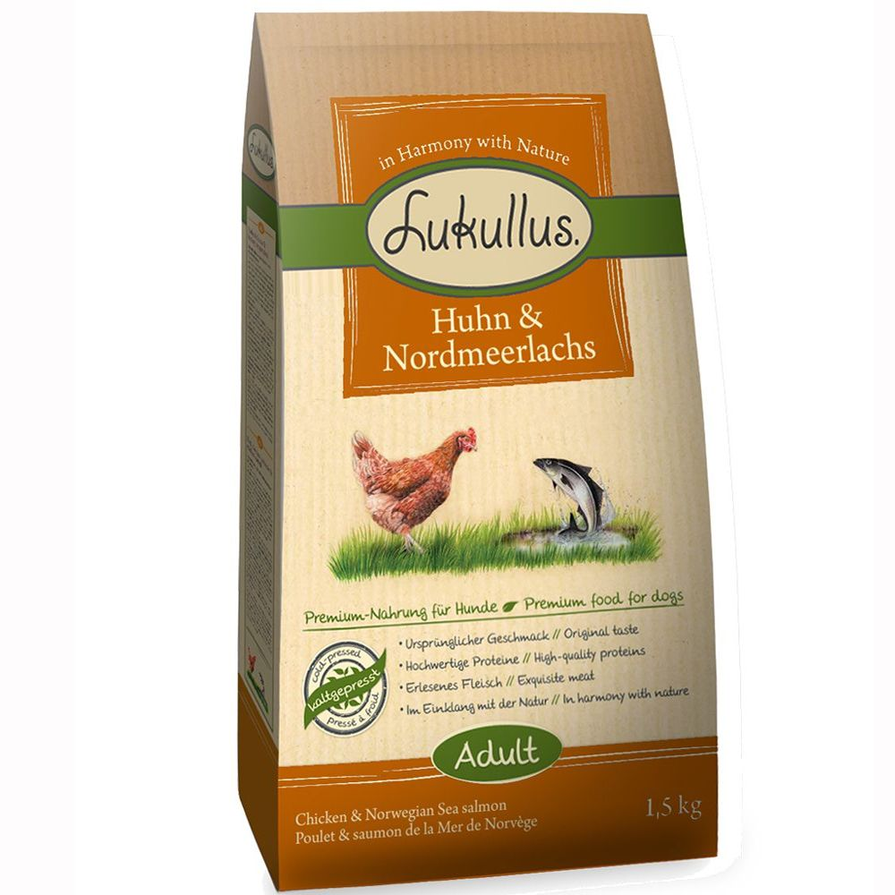 3 x 1.5kg Lukullus Adult Cold-Pressed Dry Dog Food