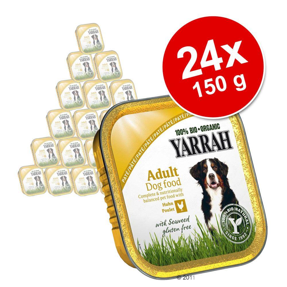 Lot Yarrah Bio 24 x 150 g pour chien - Pâté bœuf, spiruline