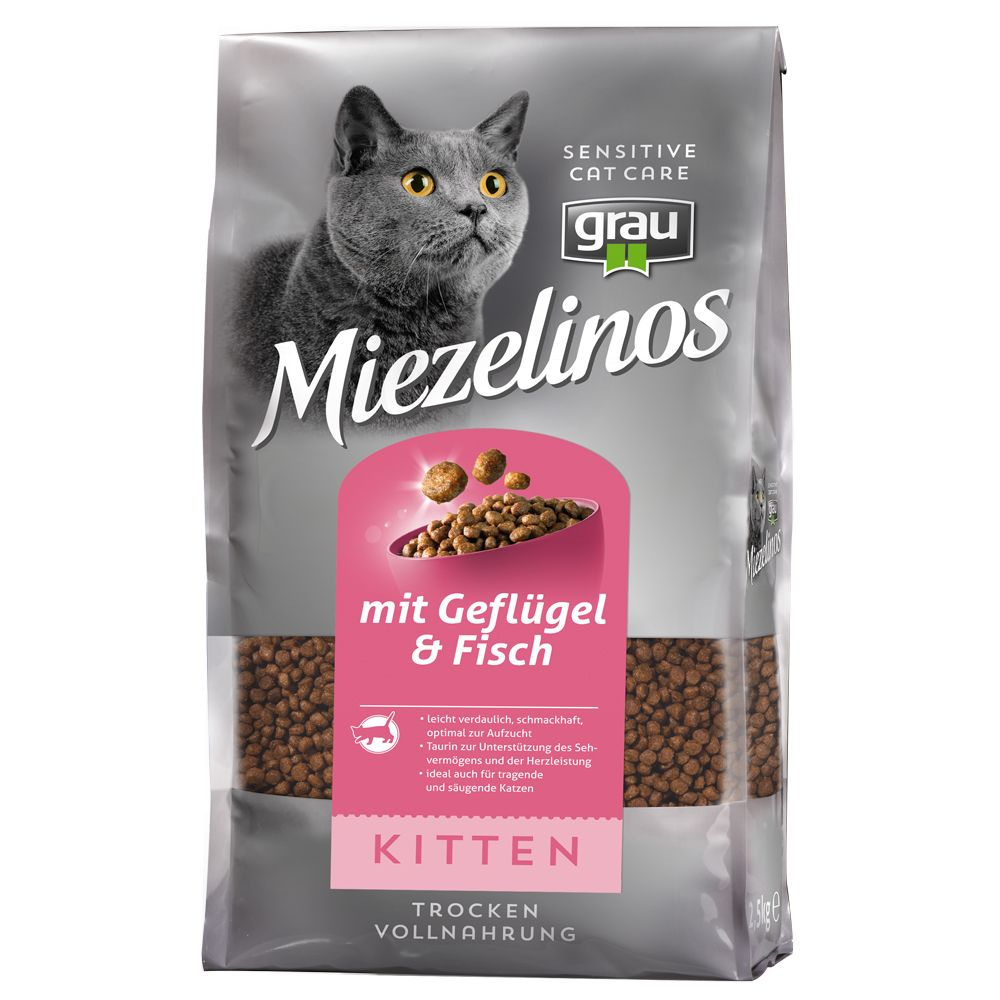 Grau Miezelinos Kitten with Poultry & Fish - Economy Pack: 3 x 2.5kg