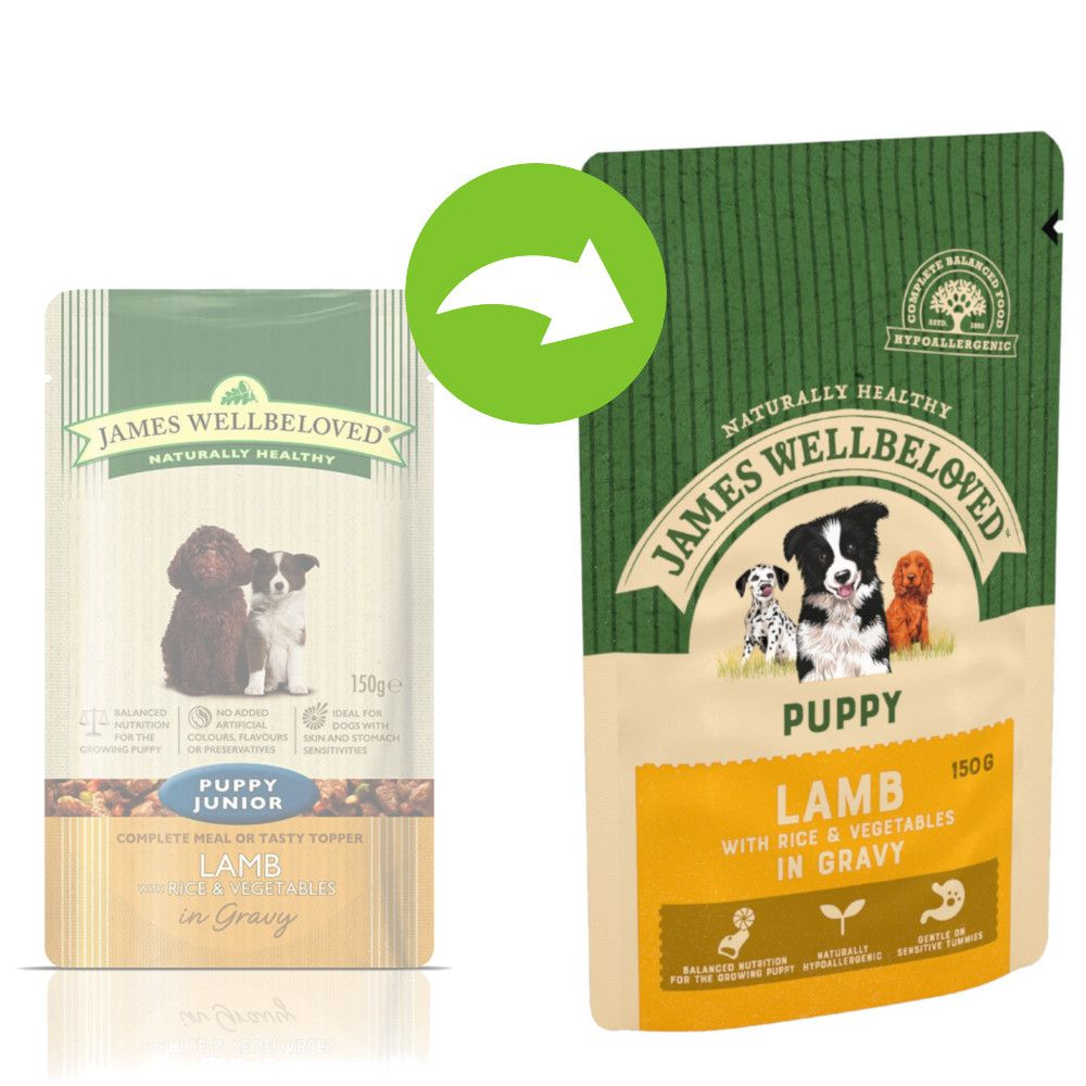 Puppy Lamb & Rice James Wellbeloved Pouches Wet Dog Food