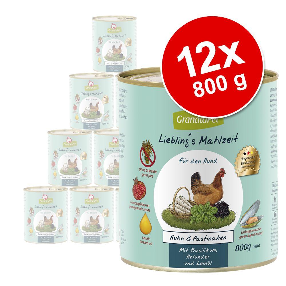Ekonomipack: GranataPet Liebling's Mahlzeit 12 x 800 g - Lax & kalkon med potatis, nypon, persilja, och nattljusolja