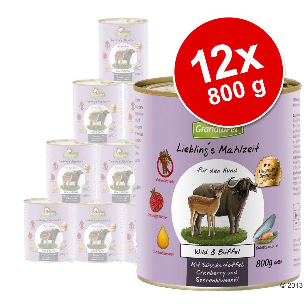 Pakiet GranataPet Liebling's Mahlzeit, 12 x 800 g  Cielęcina & królik z cukinią, dynią i olejem lnianym