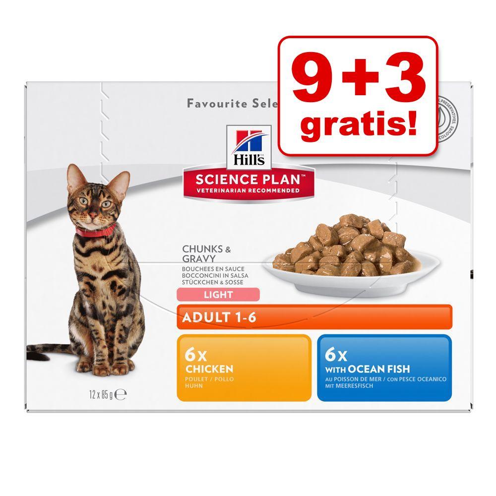 9 + 3 på köpet! 12 x 85 g Hill's våtfoder för katter Adult Favourite Selection