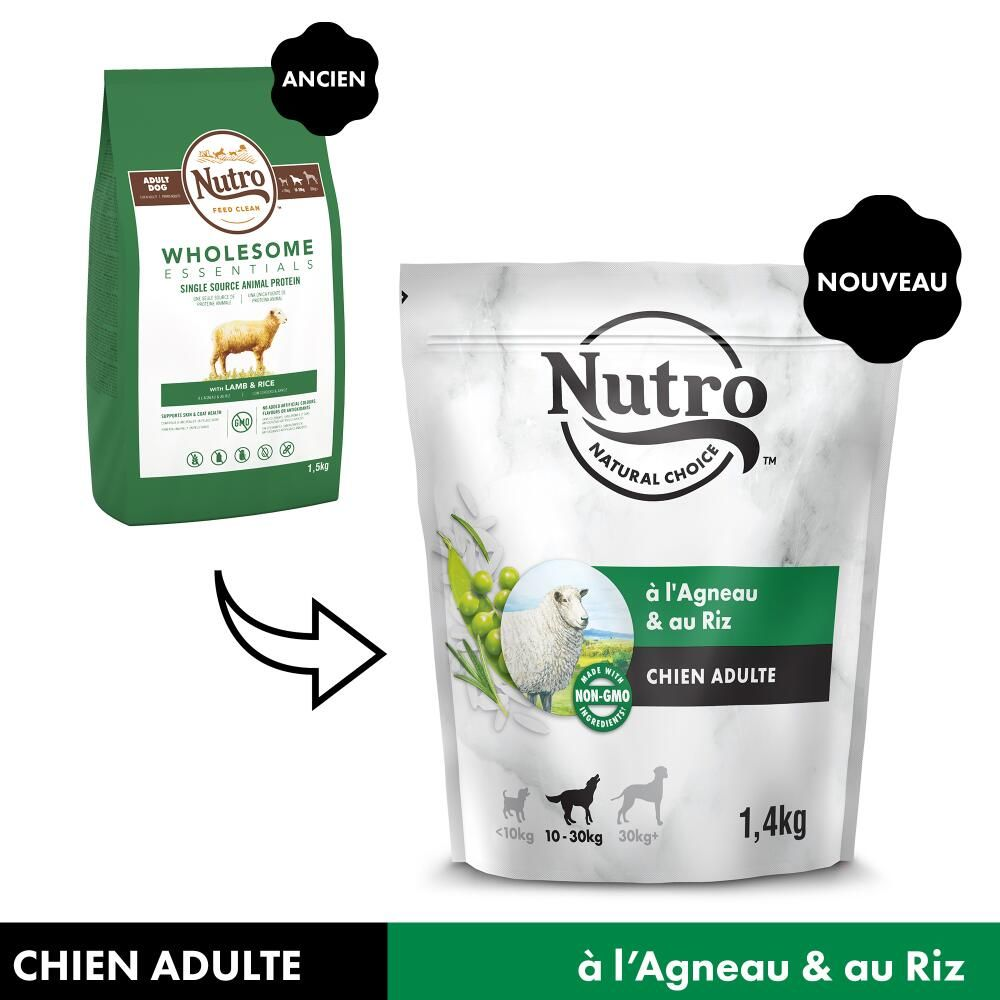 Nutro Adult 10-30 kg agneau, riz pour chien - 2 x 10 kg