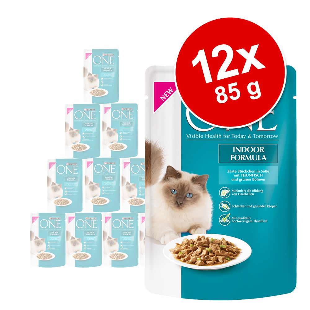 PURINA ONE Indoor Formula 12 x 85 g pour chat - thon, haricots verts
