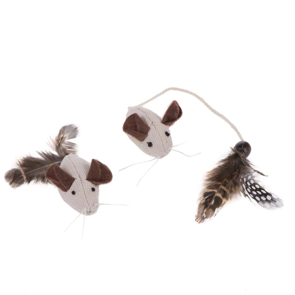 Feather Mice Cat Toy - 2 Mice